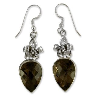 Sterling Silver 'Flower of the Universe' Smoky Quartz Earrings (India)