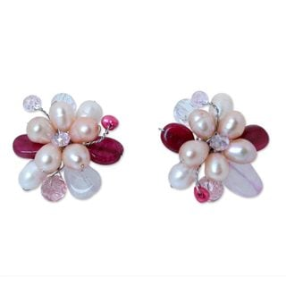 Sterling Silver 'Rose Blossom' Pearl Quartz Earrings (6 mm) (Thailand)