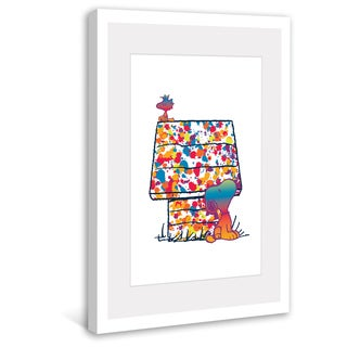 "Marmont Hill - ""Rainbow Woodstock and Snoopy"" Peanuts Framed Art Print"