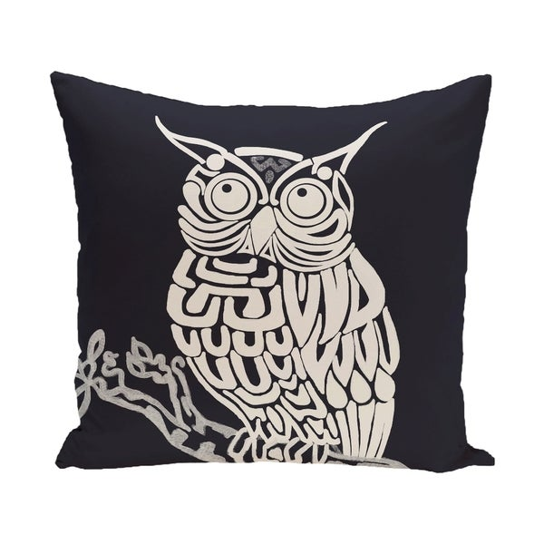 16 x 16-inch Blue, Grey Hootie Animal Print Pillow