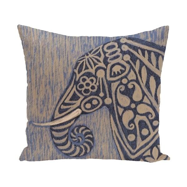 16 x 16-inch Inky Blue, Grey Animal Print Pillow