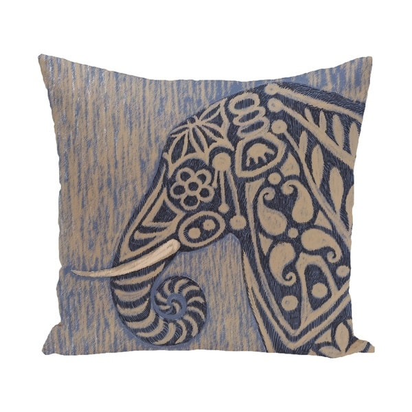 26 x 26-inch Blue, Grey Inky Animal Print Pillow