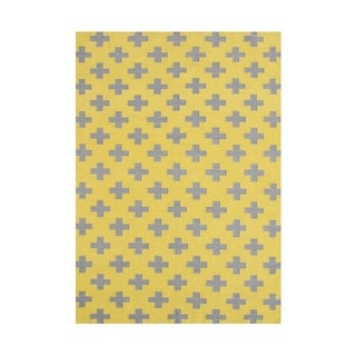 Alliyah Hand Made Yellow Flat Weave Wool Rug (5'x8 ')