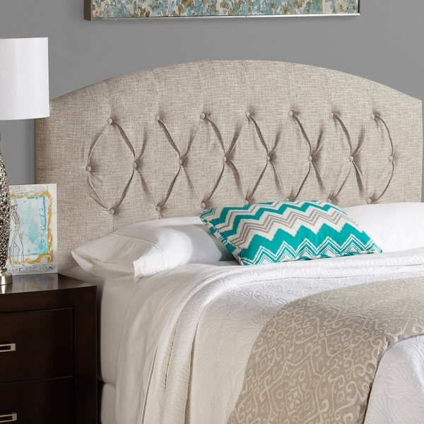 Humble + Haute Halifax King Size Ash Grey Curved Upholstered Headboard