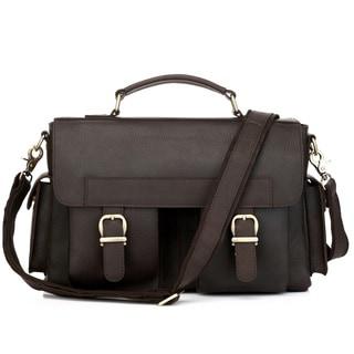 Vicenzo Napoleon Full Grain Leather Dark Brown Briefcase/ Messenger /Laptop Bag