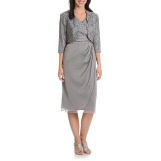 Le Bos Women's 2-piece Crinkle Bodice Jacket Dress