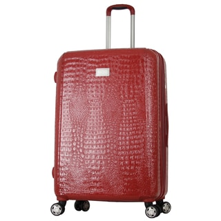 Gabbiano White, Red, Black, Brown 25-inch Expandable Hardside Spinner Upright Suitcase