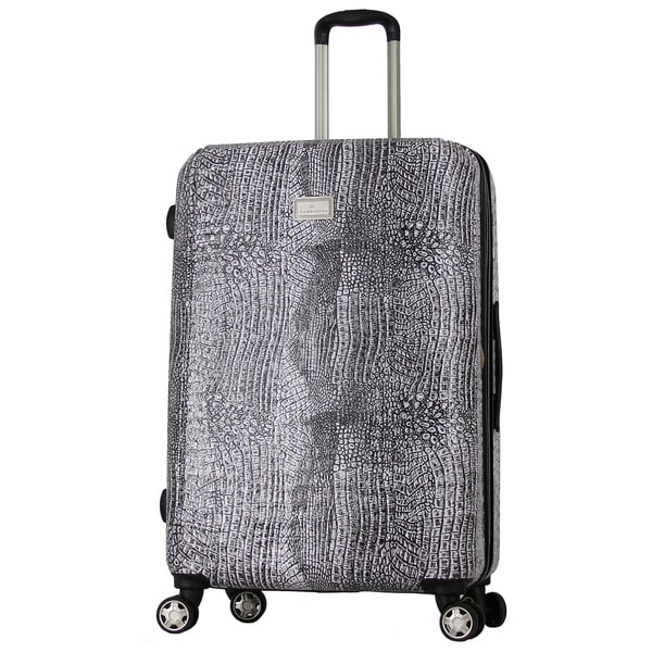 Gabbiano White, Red, Black, Brown 29-inch Croco Print Expandable Hardside Spinner Upright Suitcase