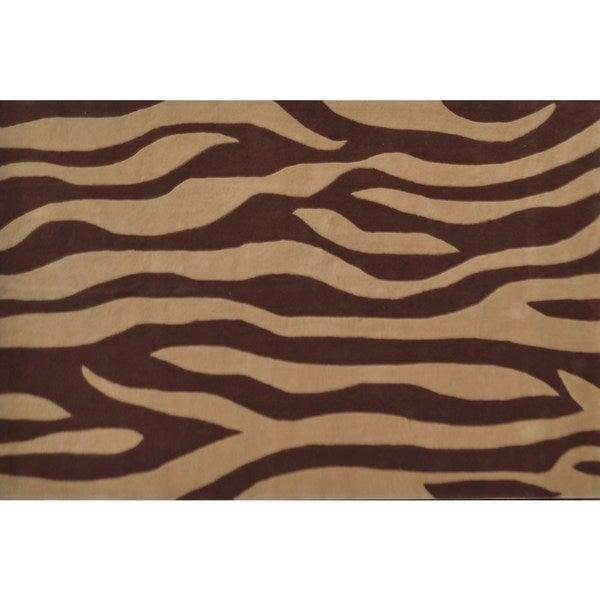 Wavy Mocha Brown Wool Tufted (5x8)