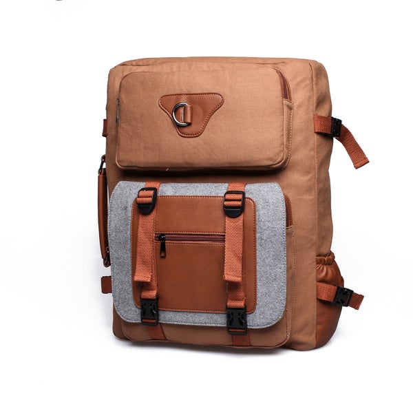 Something Strong Brown Canvas Backpack