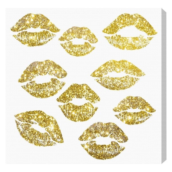 Runway Avenue 'Signs of Love in Glitter Gold' Canvas Art