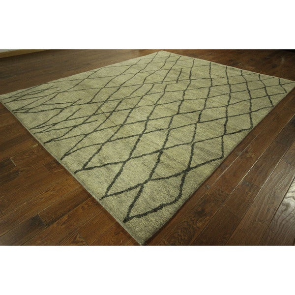 New Abstract Eton Blue Hand-knotted Wool Rabbat Moroccan Area Rug (8' x 10')