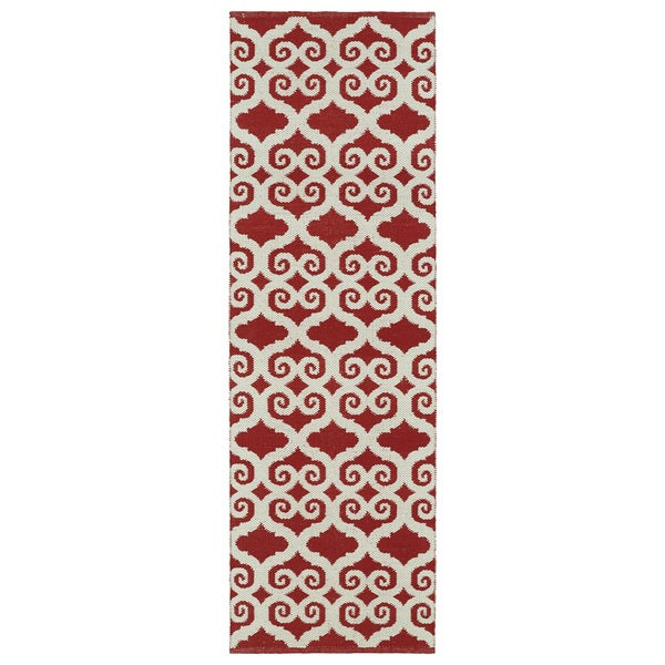 Indoor/Outdoor Laguna Red and Ivory Scroll Flat-Weave Rug (2'0 x 6'0)