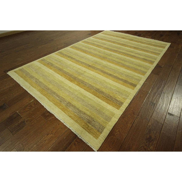 Awesome Super Gabbeh Hand-knotted Wool Oriental Multi-colored Area Rug (6' x 10')