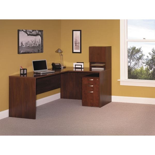 Bush Business Furniture L-WorkStation with Micro Hutch and 3-Drawer Mobile Pedestal
