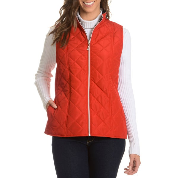 Casual Identity Women's Reversible to Zebra Print Quilted Vest
