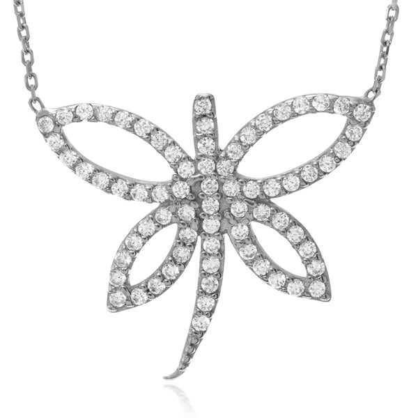 Journee Collection Sterling Silver Cubic Zirconia Accent Dragonfly Pendant