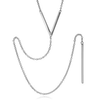 Journee Collection Sterling Silver Rhodium-plated 'V' Long Drop Necklace