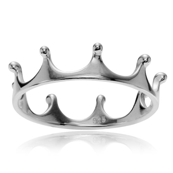 Journee Collection Sterling Silver Polished Crown Ring