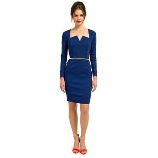 London Dress Company Women's Long Sleeve Bodycon Dress Featuring a Belt