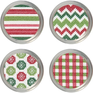 Holiday Patterns Jar Topper Counted Cross Stitch KitSet Of 4