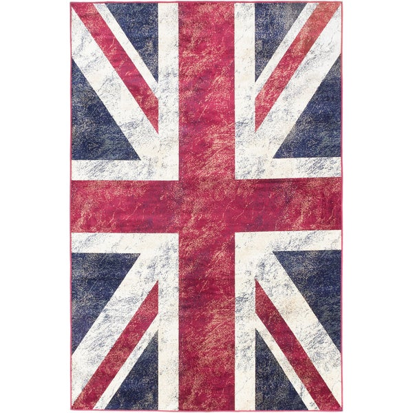 Ecarpetgallery Union Jack Navy Red White Flag Rug (5'1 x 7'7)