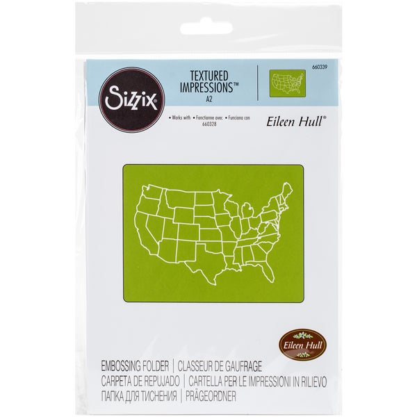 Sizzix Textured Impressions A2 Embossing FolderU.S. Map