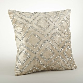 Velvet/Sequined Design 20-inch Throw Pillow