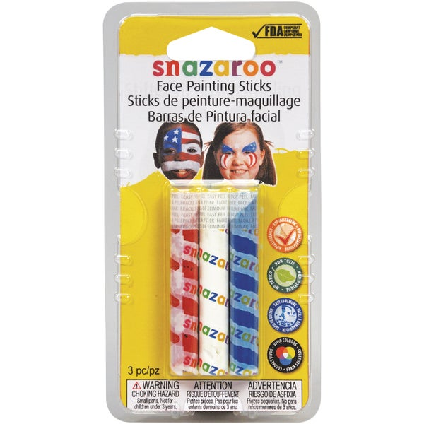 Snazaroo Face Painting Sticks 3/PkgRed, White & Blue