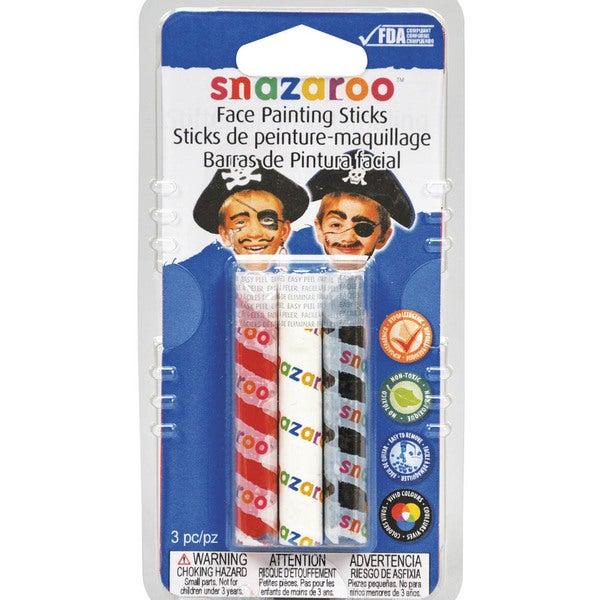 Snazaroo Face Painting Sticks 3/PkgRed, White & Black