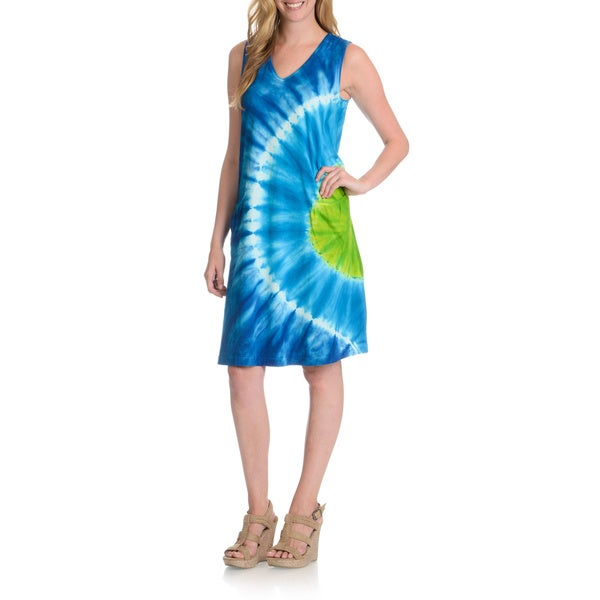La Cera Women's Sun Burst Tie Dye Tank Dress