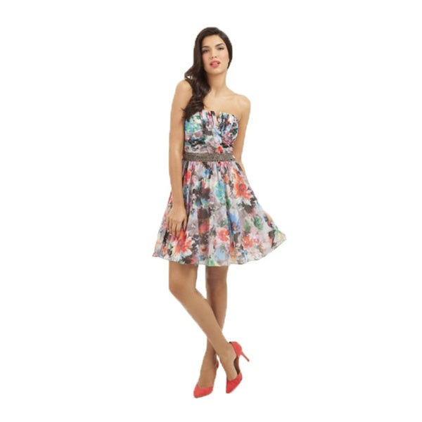 Little Mistress Women's Multicolor Dress with Sequin Waist Line