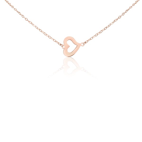 Gioelli 14k Rose Gold Open Heart Chain Necklace