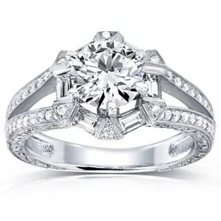 Annello 14k White Gold 1 1/2ct TDW Diamond Art Deco Open Shank Engagement Ring (H-I, I1-I2)