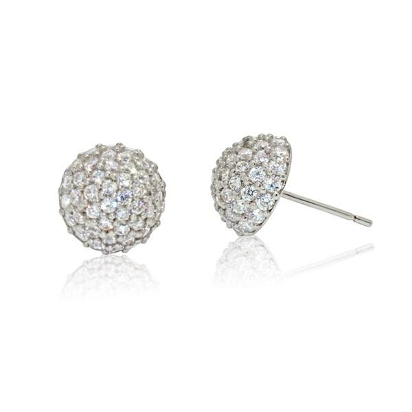 Gioelli 14k White Gold Half Dome Cubic Zirconia Stud Earrings
