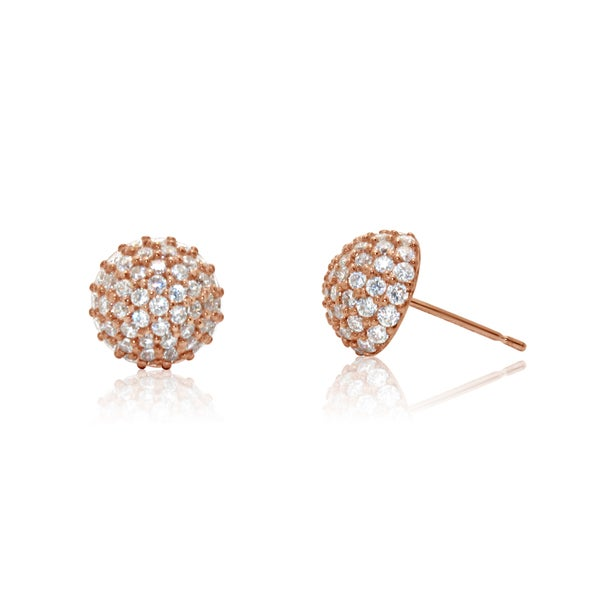 Gioelli 14k Rose Gold Half Dome Cubic Ziconia Stud Earrings