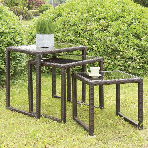Furniture of America Kelsey Espresso Wicker Glass Top Nested Tables (Set of 3)