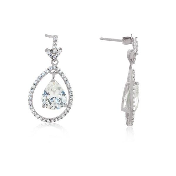 Gioelli Sterling Silver Cubic Zirconia Tear Drop Swing Dangling Earrings