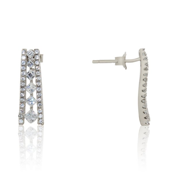 Gioelli Sterling Silver Cubic Zirconia Curved Slide Bar Earrings