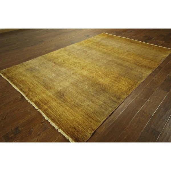 Gabbeh Collection Brown Plain Hand-knotted Wool Area Rug (6' x 9')