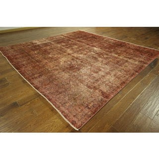 Mahogany Orange Overdyed Square Oriental Hand-knotted Wool Area Rug (10', 10' x 10')