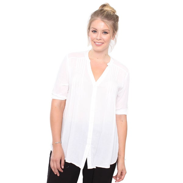Juniors' Plus Size White 3/4 Dress Shirt