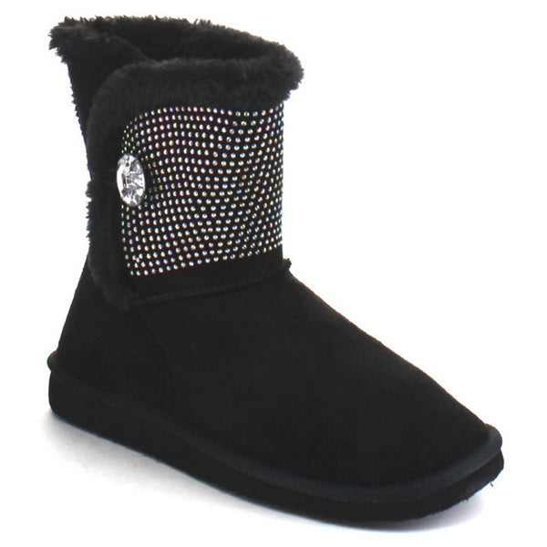 Forever Aling-14 Women's Single Button Fully Faux Fur Lined Winter Snow Boots