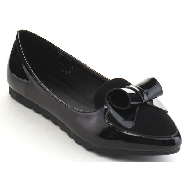 Black Swan Abrill-2 Women's Pointed Toe Bow Tie Ballet Flats