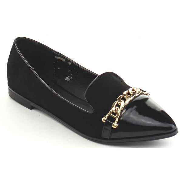 Black Swan Chloe-2 Women's Pointed Toe Metal Chain Slip On Flats