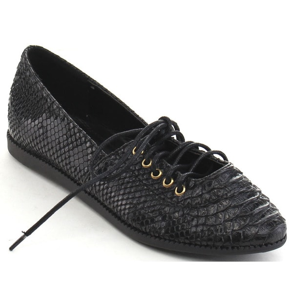 Black Swan Bailey-2 Women's Pointed Toe Lace Up Snake Skin Flats