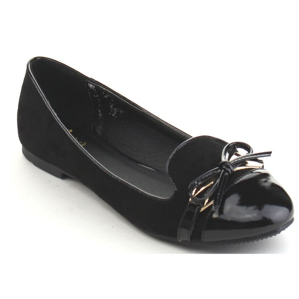 Black Swan Nora-3 Women's Metal Bow Tie Slip On Ballet Flats