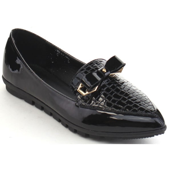 Black Swan Stacy-1 Women's Bow Tie Croco-embossing Pointed Toe Flats