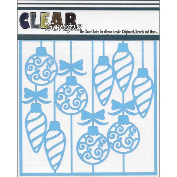 Clear Scraps Stencils 6inX6inSwirl Christmas Bulbs