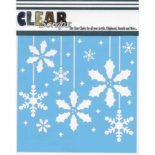 Clear Scraps Stencils 6inX6inHolly Christmas Bulbs